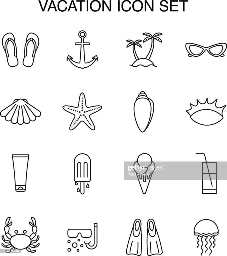 Set icons about vacation and summer.