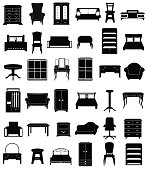 set icons furniture black silhouette outline vector illustration