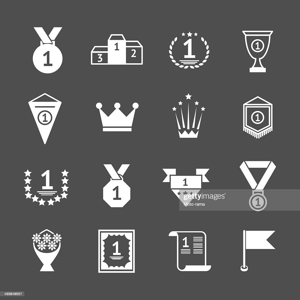 Set icons of awards, prizes and trophy