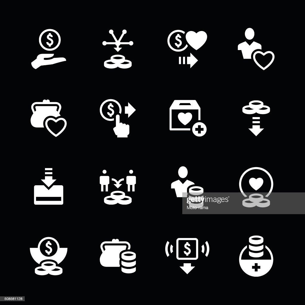 Set icons of charity and donate : Vector Art