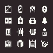 Set icons of elevator and lift