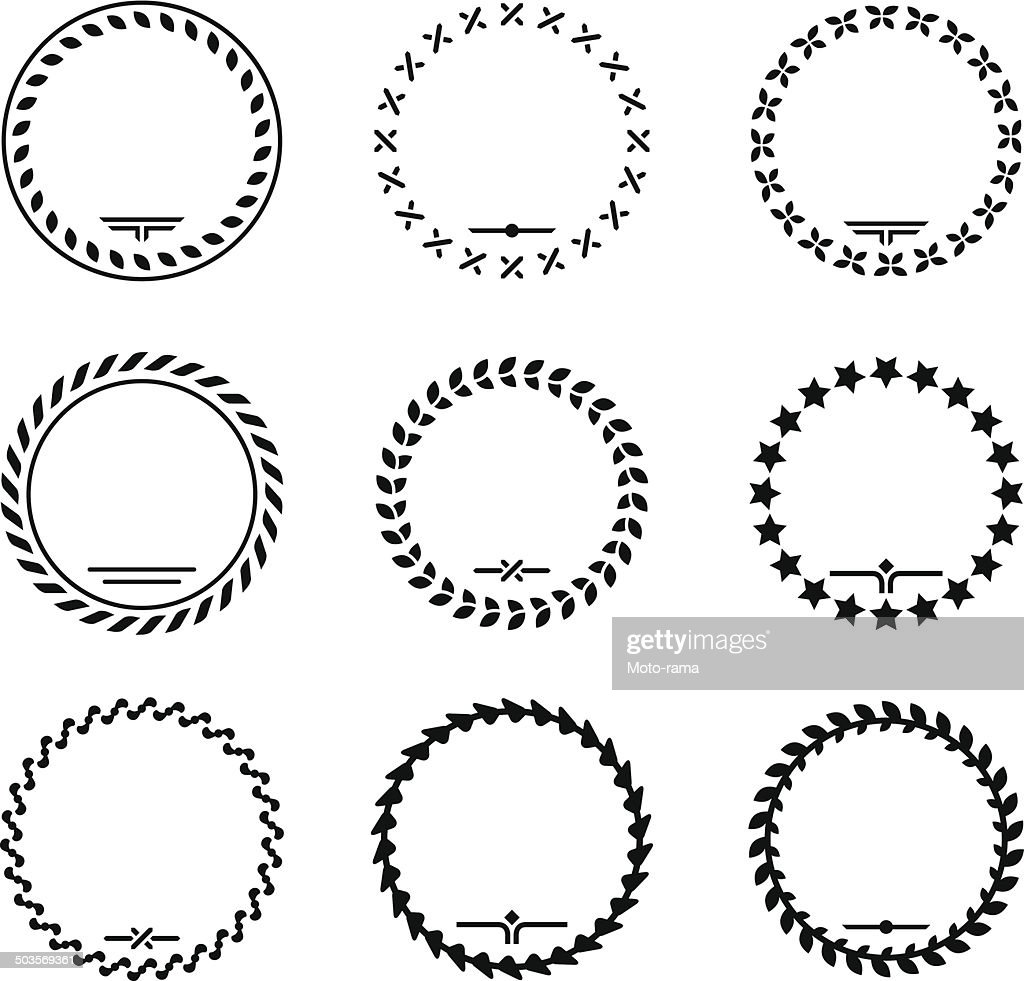 Set icons of laurel wreath and modern frames