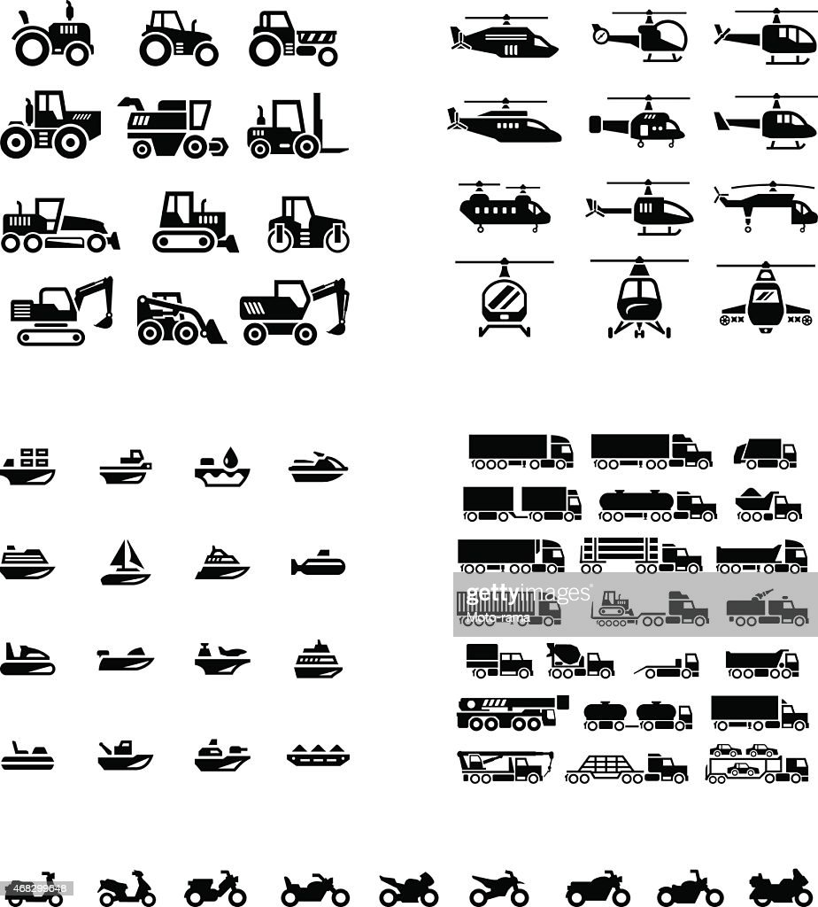 Set icons of transport. Tractors, helicopters, water transport, trucks and motorcycles