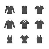 Set icons of t-shirt, singlet, long sleeve