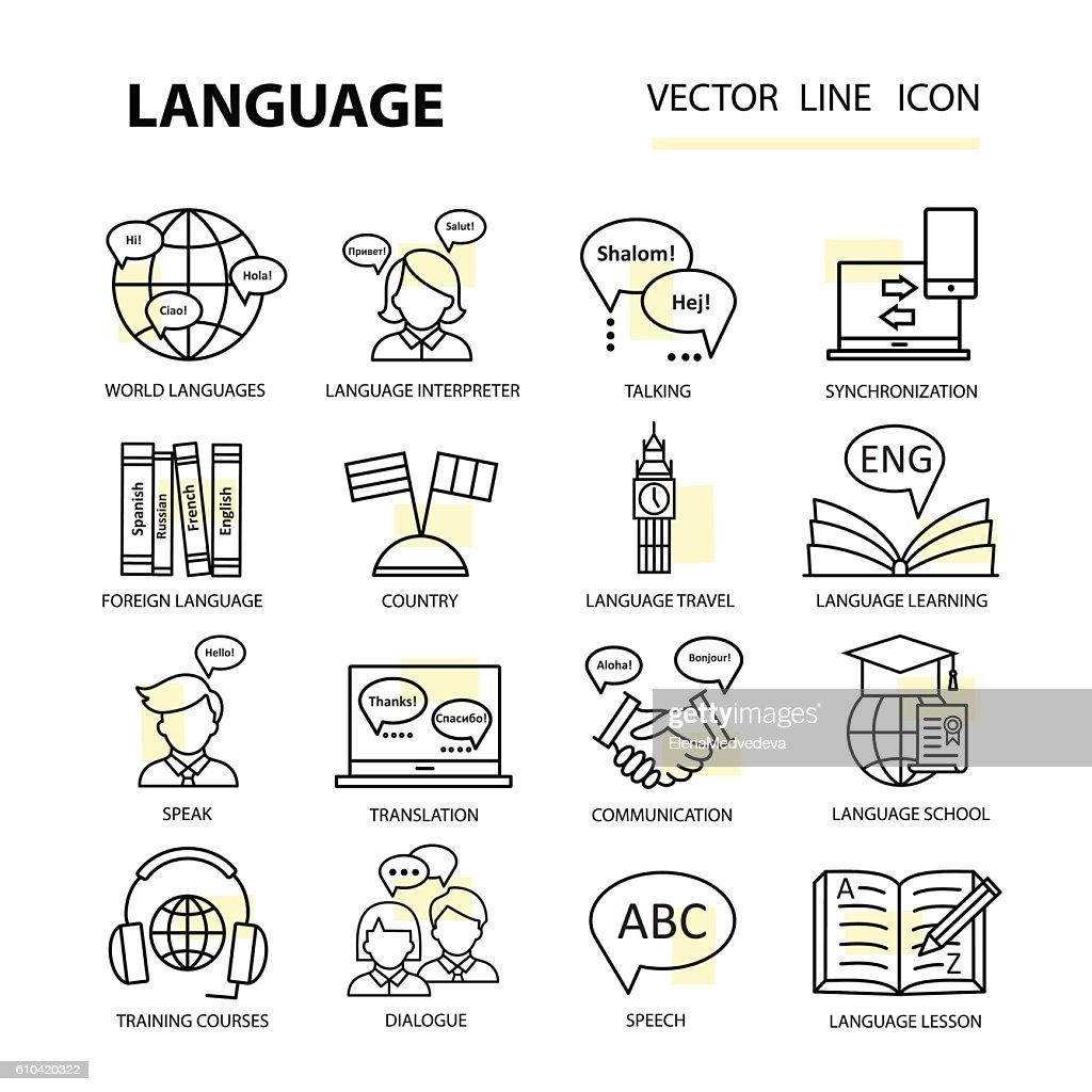 Set icons on the topic of learning a foreign language.