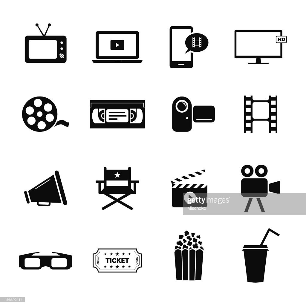 Set icons related to cinema, films and movie industry