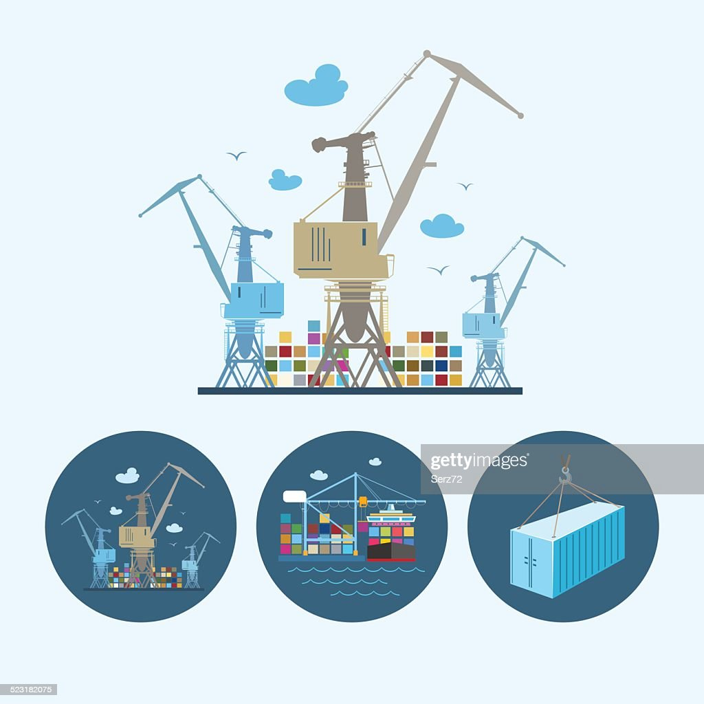 Set icons with   container,  the cranes with containers in dock