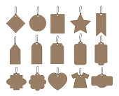 set illustration of brown hang tag collection on white background - vector paper labels