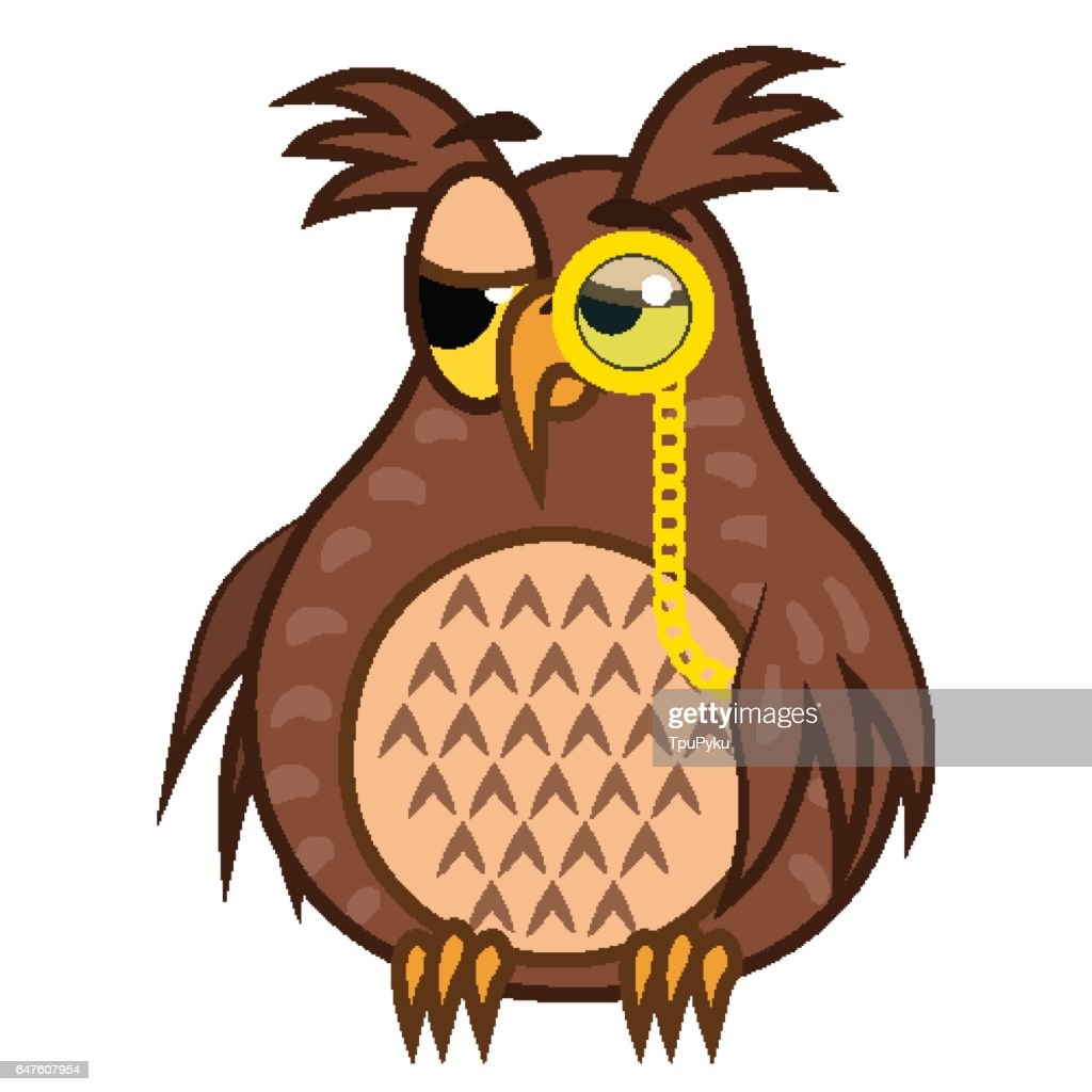 Set isolated Emoji character cartoon sarcastic owl with pince nez. Vector Illustrations