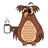 Set isolated Emoji character cartoon sleepy owl with coffe cup. Vector Illustrations