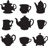 Set isolated icon silhouette teacups and teapots