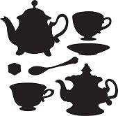 Set isolated icon teapots, teacups, teaspoon, saucer and sugar