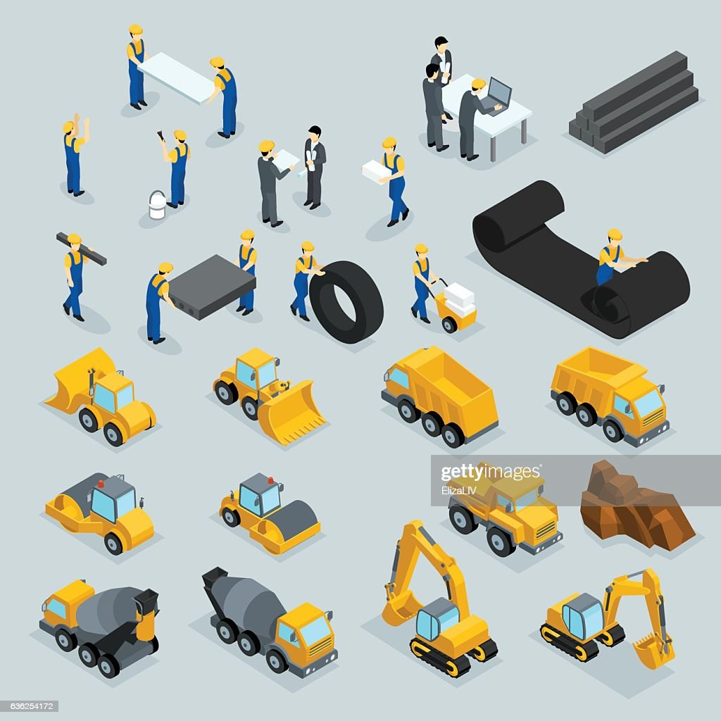 Set isometric 3D icons for construction workers, crane, machinery, power