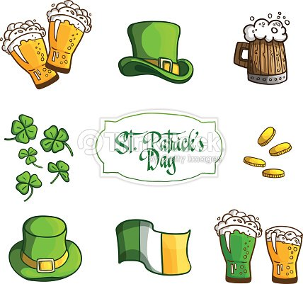 Set Items For Holiday St Patrick S Day In Cartoon Style