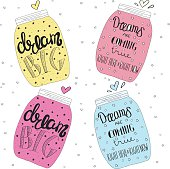 Set jars with text, stars and bubbles. Lettering. Dream big.
