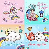 Set Kawaii Cartoon Lettering Girlish Card Template