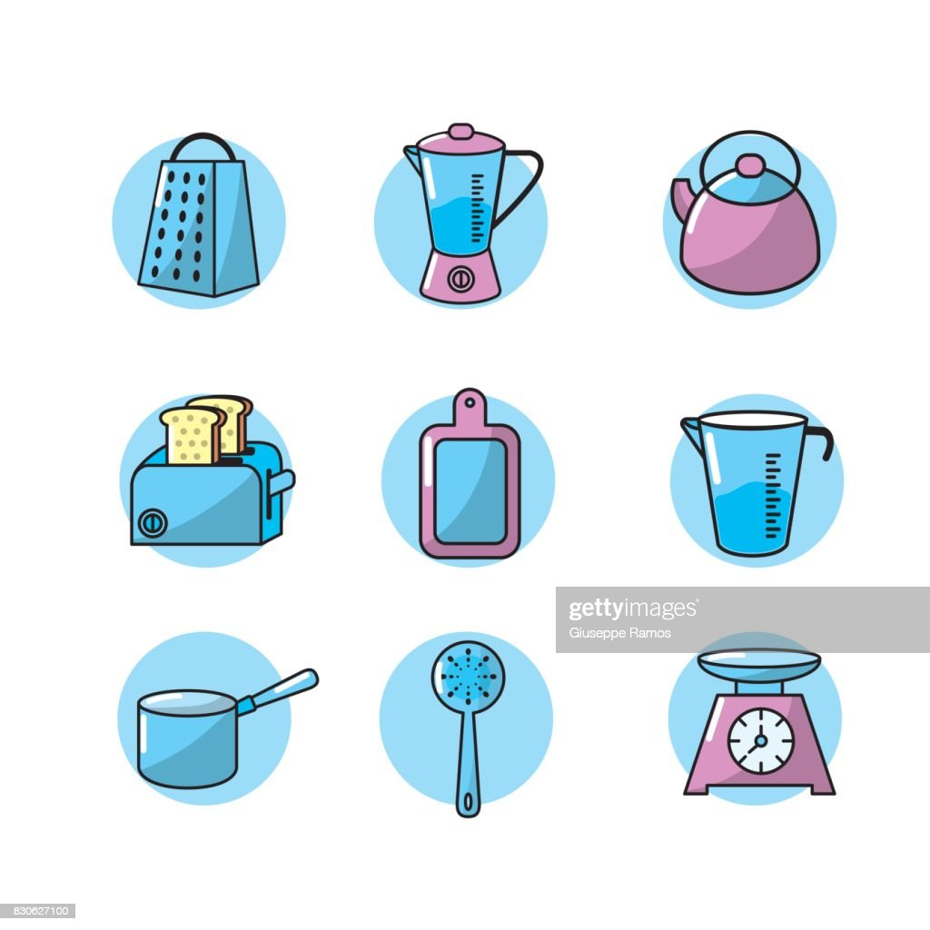 Set Kitchen Utensils And Traditional Object Vector Art   Getty Images