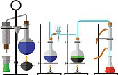 Set laboratory flask chemical reagent in flat design