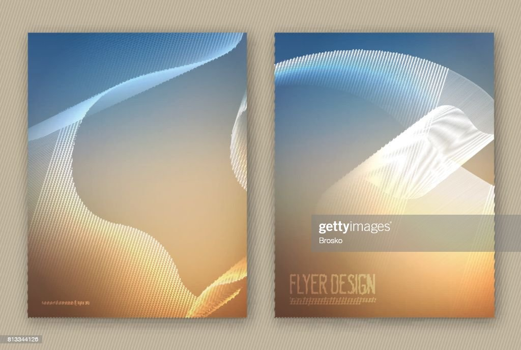 Set Layouts Of Brochures Templates Abstract Blurred Background With