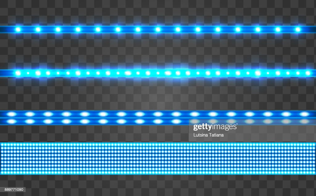 Set LED realistic blue ribbon on a transparent background.