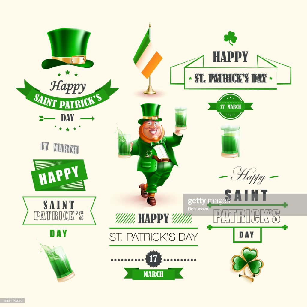 Set lettering Happy St. Patricks Day