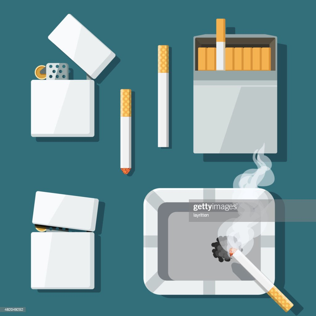 Set lighters, cigarettes and ashtray in flat style