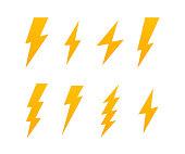 Set Lightning bolt. Thunderbolt, lightning strike. Modern flat style vector illustration