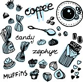 set line draw candy isolated elements breakfast