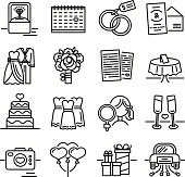 Set line icon for wedding. The symbols of the groom, the bride, the wedding invitation and the ring. Collection of signs for the newlyweds. Vector