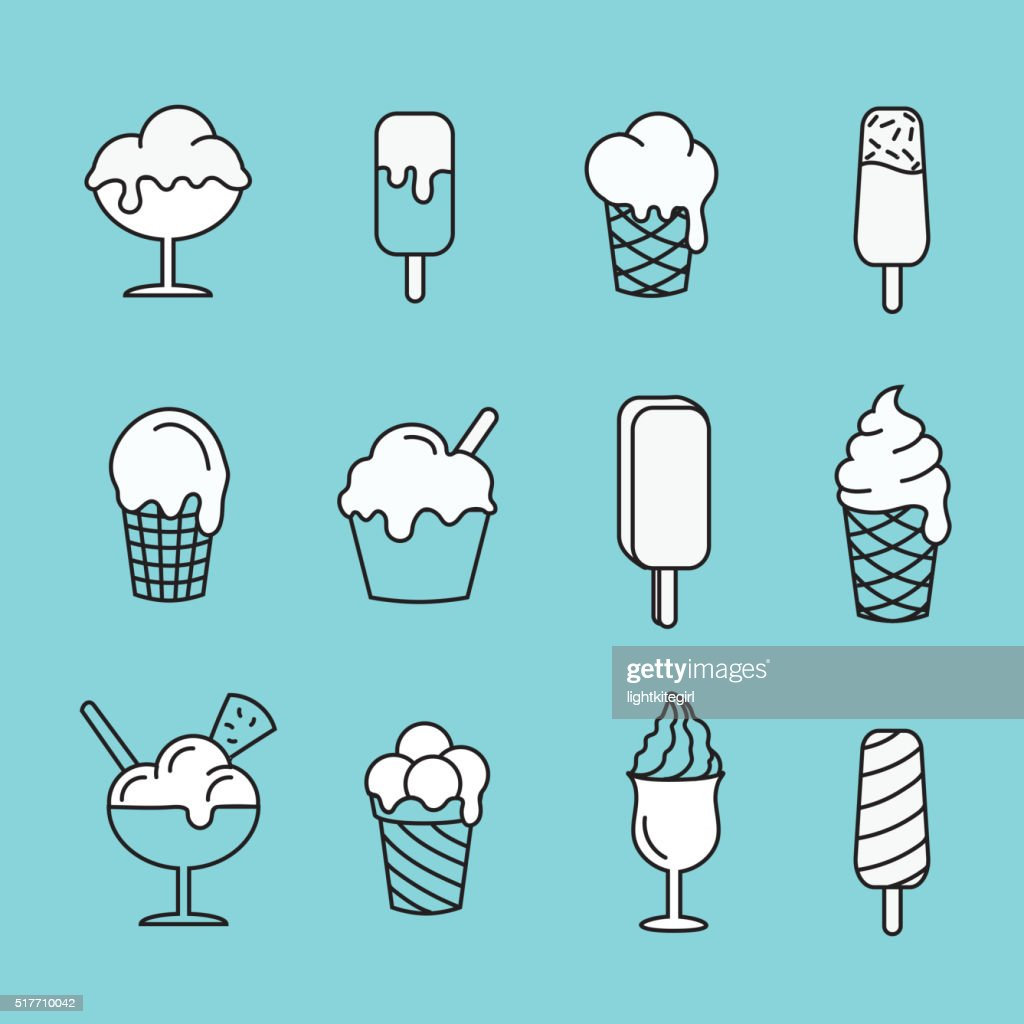 Set line icons Ice cream.  Dessert  sweet food Vector illustration