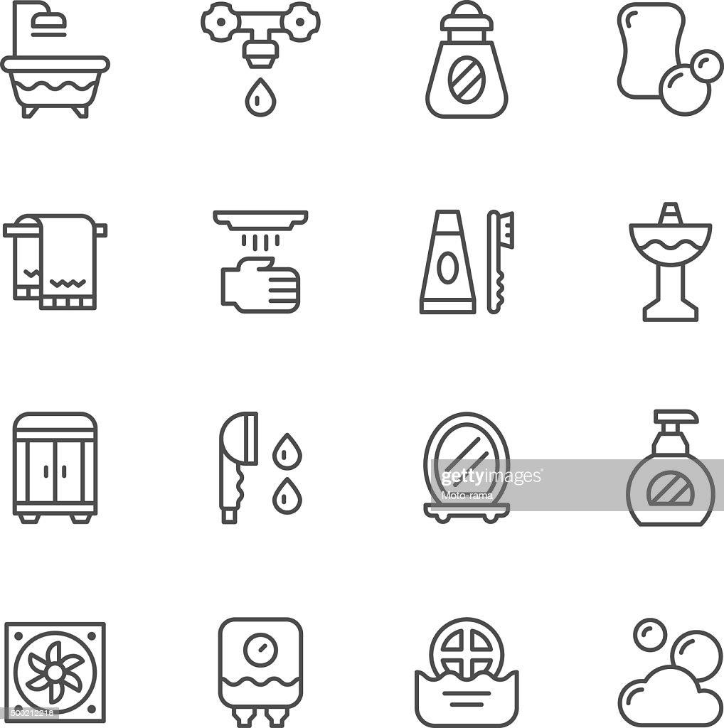 Set line icons of bathroom