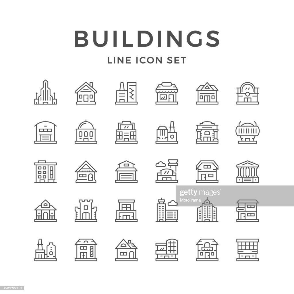 Set line icons of buildings