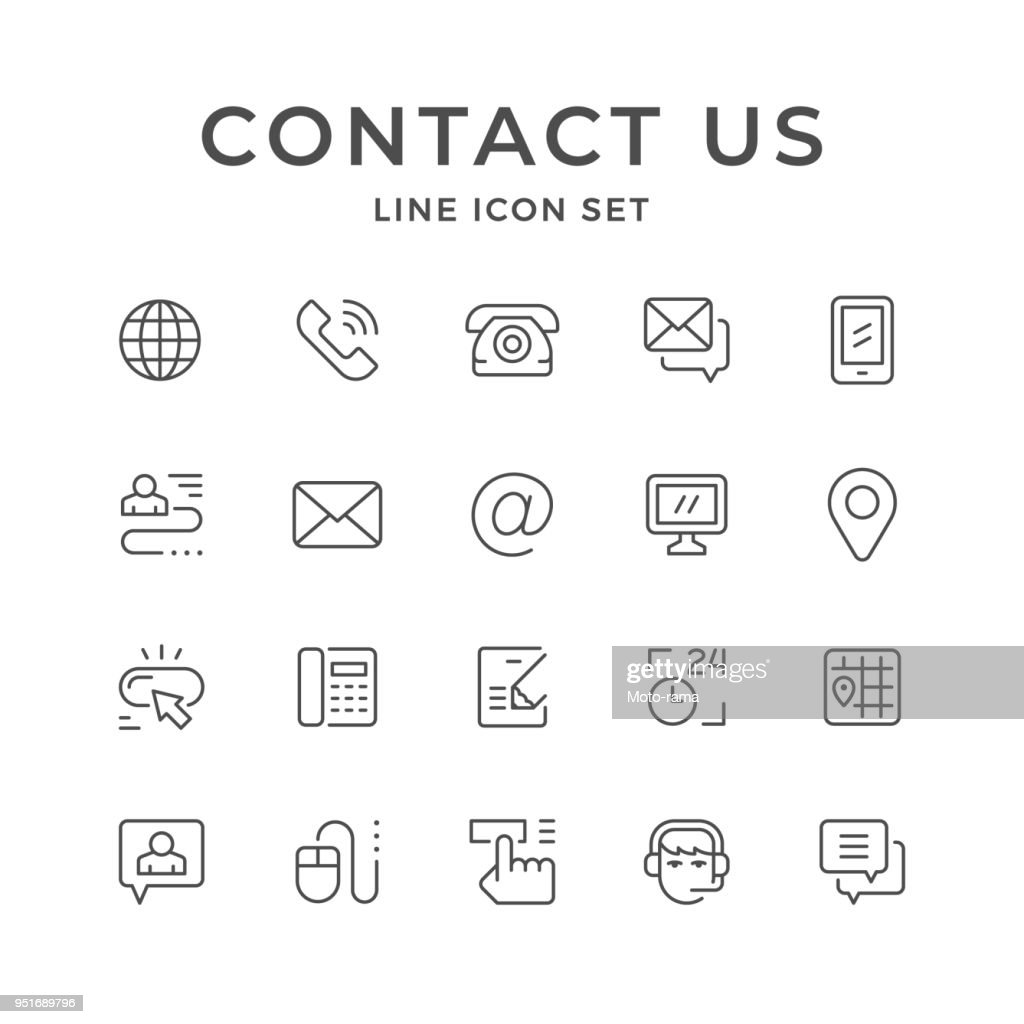 Set line icons of contact us