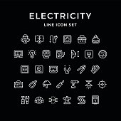 Set line icons of electricity