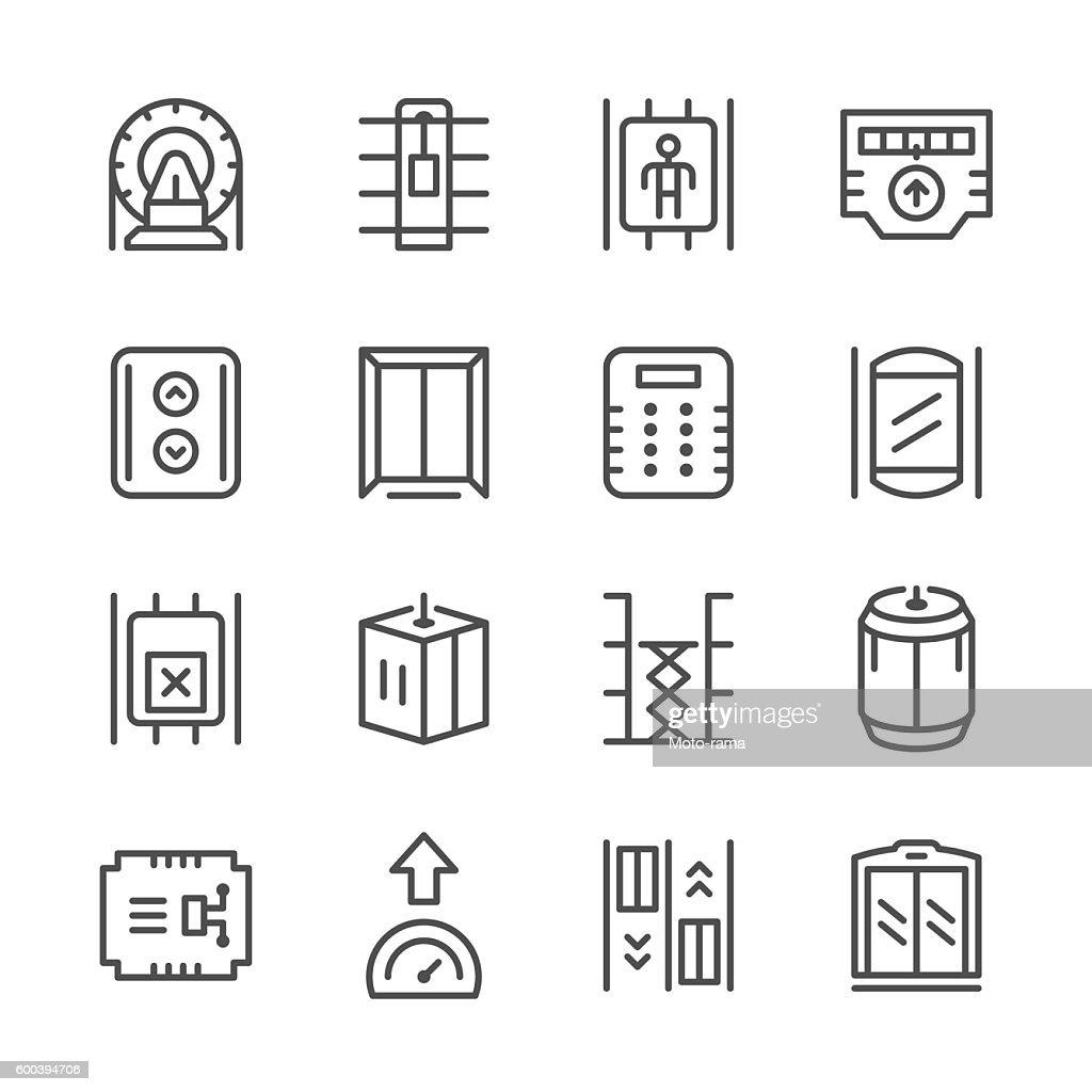 Set line icons of elevator