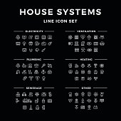 Set line icons of house systems