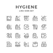 Set line icons of hygiene