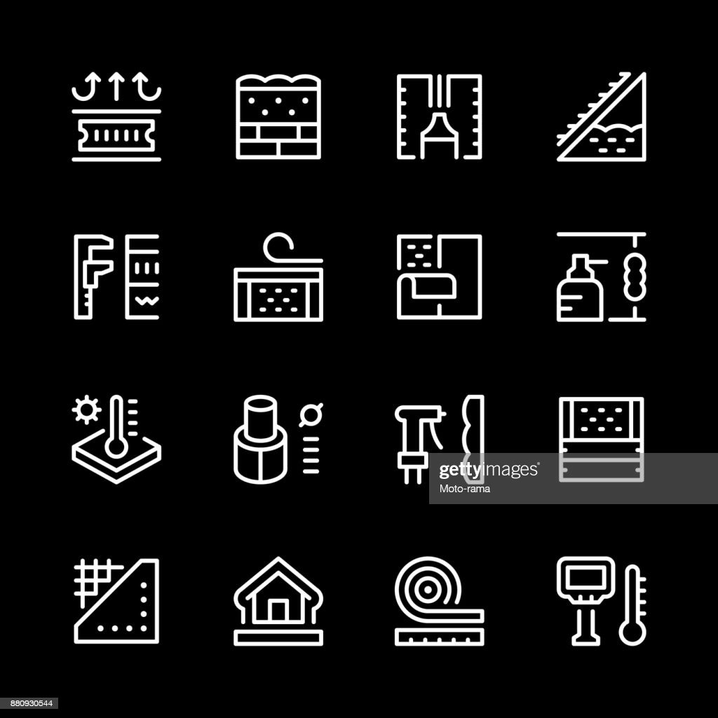 Set line icons of insulation