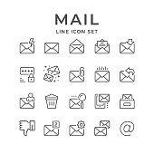 Set line icons of mail