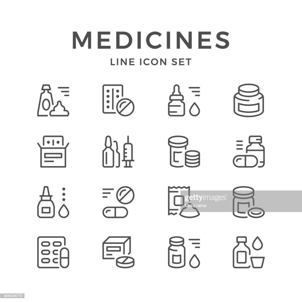 Set line icons of medicines
