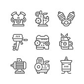 Set line icons of motor and engine