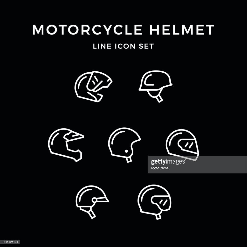 Set line icons of motorcycle helmet