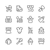 Set line icons of newborn