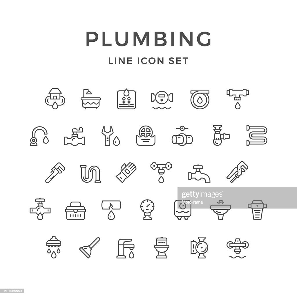 Set line icons of plumbing