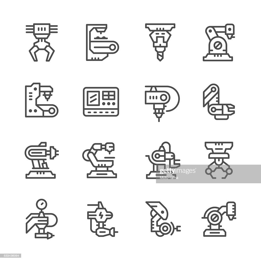 Set line icons of robotic industry
