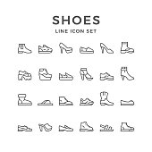 Set line icons of shoes