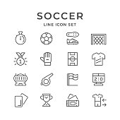 Set line icons of soccer