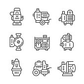Set line icons of water pump
