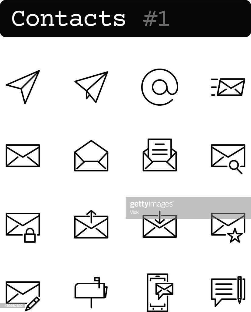 Set line thin icons. Vector. Contacts, communication.