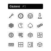 Set line thin icons. Vector. Leisure, game